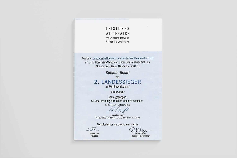 Landessieger DUBE Fußbodentechnik