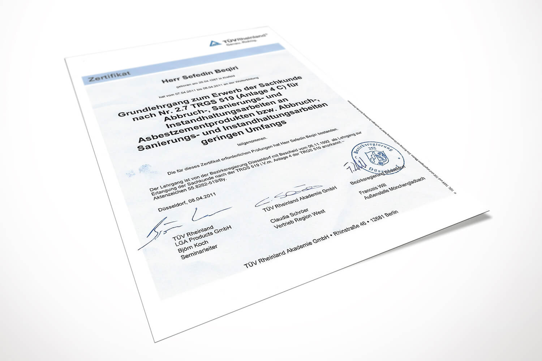 Zertifikat DUBE Fußbodentechnik